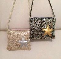 Wholesale Designer Korea Handbag - Korea style Shinning Pentagram Glitter Quilted Kids Accessories Children's Mini Handbags Designer Small Shoulder Bag for Girls Kids Bags