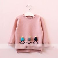 Wholesale Cute Korean Kids Winter Hat - Everweekend Girls Hat Smile Sweater Cute Baby Candy Color Tees Sweet Kids Western Korean Fashion Autumn Tops