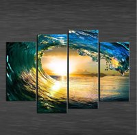 Wholesale Landscape Ocean Oil Painting - HD Canvas Print home decor wall art painting Picture paradise ocean 4pcs Unframed decorative wall pictures christmas gift