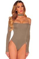 Wholesale clubwear body - Choker Off Shoulder Bodysuit Women Sexy Black Blue Long Sleeve Skinny Body Suit Female Clubwear One Piece Bodysuits