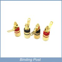 Wholesale Gold Plated Binding Posts - Free shipping 4pcs lot Amplifier Speaker Terminal Binding Post For Banana Plug 4mm Jack Gold Plated