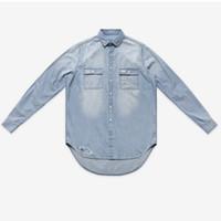 Wholesale Denim Shirt Mens - Super fashion mens jeans long sleeve shirts denim loose men's shirts hip hop casual Distrressed shirts size S M L XXL
