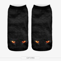Wholesale Wholesale Galaxy Socks - Wholesale-SM070 Harajuku 3D Printed Women'S Socks Calcetines Casual Animal Cat Biscuit Galaxy Unisex Low Cut Ankle Funny Socks Meias