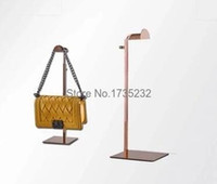 Wholesale 5pcs Adjustable rose gold Metal Handbag Display Rack Women Handbag Bag Display Stand wig hat scarves hook stand bag holder rack