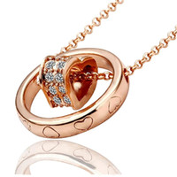 Wholesale Cheap Popcorn Wholesale - 18KGP Heart Necklace Pendant Jewelry For Women Best Gift Cheap Jewelry Best Quality Fashion Alloy Crystal Necklace Jewelry Min Order 5pcs