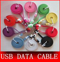 Wholesale I Phone Flat Charge - DHL Free Shipping 1M 2M 3M Micro V8 Noodle Flat Data USB Charging Cords Charger Cable Line for i 4 5 6 Samsung Android Phone