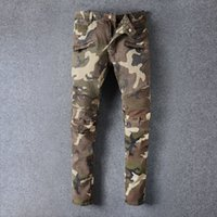 Wholesale Cheap Plaid Pants For Men - High Quality Fashionable 2016 Balmain Camo Biker Jeans Camouflage Pants For Men Panelled Zipper Pockets Cheap Price Online Wholesale