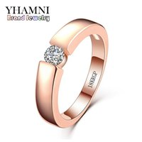 Wholesale great stamps - YHAMNI Original Jewellery Ring 18KRGP Stamp Rose Gold Rings 5mm 0.5 Carat Diamond Engagement Band Women Jewelry R400