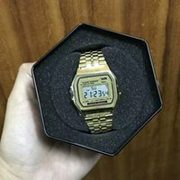 Wholesale Retro Digital Watches - New Watches Mens Classic Stainless Steel Digital Retro Watch Vintage Gold and Silver Digital Alarm G Style Sports Shock Male Watches Saat