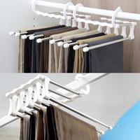Wholesale Metal Trouser Hangers Wholesale - Wholesale-ties scarf shawl retractable rack hanger multi 5 in 1 space saving Stainless Steel Multifunction Pants Rack Trouser Hanger
