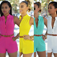 Wholesale Color Codes White - Europe and the tight type of tall waist single-breasted jumpsuits shorts with belt More color code Support to mixed batch of