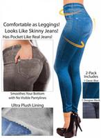 mavi dar pantolon toptan satış-Toptan ucuz Giyim kadın tayt 01 bacak pantolon tayt siyah mavi polyester elyaf Taklit kot Gerçek cep leggins jeggings
