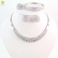 indien perlen großhandel-Heißer Verkauf Afrikanische Perlen Schmuck-Set Mode Dubai Versilbert Schmuck Sets Indien Design Für Hochzeit Bräute