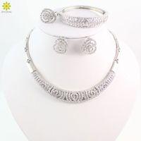 venta de cuentas africanas al por mayor-Venta caliente perlas africanas conjunto de joyas de moda Dubai joyería plateada de plata establece el diseño de la India para novias de boda