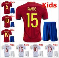 Wholesale Spain Soccer Jersey Kids - Whosales Spain Youth jersey 2016 Euro Cup Espana kids Soccer Jerseys Shirt Ramos Camisetas De Futbol 2017 Soccer Uniforms kits Thai Quality