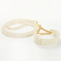 Wholesale Dog Pearl Collars - White Pearl Small Dog Training Leash&Collar Pet Luxury Lead Rope Top Quality S Size 5 Set LOT