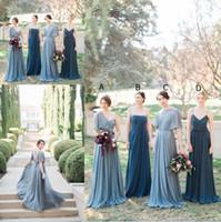 mavi şifon gece elbisesi toptan satış-Jenny Yoo Uyumsuz Gri Mavi Uzun Gelinlik Modelleri Şifon Kat Uzunluk Zarif Onur Hizmetçi Elbise Örgün Akşam Parti Törenlerinde