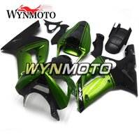 ingrosso plastica ninja zx6r-Carene nere verdi per Kawasaki ZX-6R ZX6R 2003-2004 03 04 Plastiche per iniezione plastificate Kit carenature per moto Carrozzeria Carenes