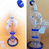ingrosso giunto a nido d'ape-Bong in vetro Doppio filtro Bubbler Band Blu clolr Glass Cartoon Bong Honeycomb Disk 26cm Alta giunzione 14.4mm Glass Oil rigs dab rigs Heady