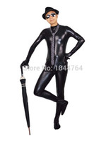 Wholesale Tights Shiny Men - Wholesale-Black Fullbody zentai suit one piece shiny metllic tight costume free shipping