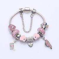Wholesale Copper Envelopes - Elegant Beaded Charm Bracelets with Pink Pave Heart Charms & Envelope & Wings Dangles DIY Snake Chain Bangle Bracelets Wedding Jewelry BL266