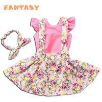 Wholesale Girls 3pc Pink - 2016 Summer Girls floral 3pc set girls Pink T-shirt & Floral Strap Dress & Headband Kids Clothes Girls Dress Set Children Girls Clothing