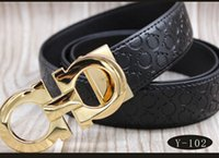 Wholesale Man Cow Leather Belt - High quality belts for men fashion brand designers luxury cow genuine leather belt Gold silver letter buckle waistband Free shipping