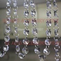 Wholesale Crystal Garland Curtain Wholesale - 2rolls 33FT Crystal Clear Acrylic Beaded Strands Garland Chandelier Tree winow door Curtain Wedding Favor decor