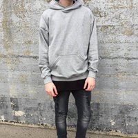 Wholesale Plain Fleece Pullover - New Streetwear Pullovers Drake Kanye West Plain Khaki Black Fleece Oversized Hoodie Kpop Clothes Tracksuit Hoodies Men Hip Hop