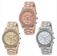 Wholesale Gold Plated Ladies Watches - Wholesale free shipping Watch 2016 Faux Chronograph Quartz Plated Classic Round Ladies Women Crystals Watches