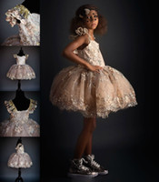 Wholesale Prom Dresses Short For Sell - Vintage Short Sequins Little Girl's Pageant Dresses Applique Cap Sleeve 2016 Flower Girl Dress For Weddings Best Selling Teens Prom Gowns