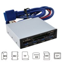 """Wholesale Usb Floppy Card Reader - High Speed 3.5"""" PC 4 Ports USB 3.0 Hub Card Reader Floppy Front Panel 11 Slot For MS CF SD XD TF M2 Cardreader FPCR08-P23"""