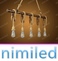 Wholesale Industry Lights - nimi1104 5-Lights Loft Personalized Water Pipe Hemp Chandelier Cafe Bar Nordic Retro Vintage Clothing Industry Pendant Lamp Lighting
