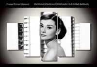 Wholesale Audrey Hepburn Decor - 5 Panel HD Printed audrey hepburn modern abstract wall art painting wall art Canvas Print room decor poster canvas Free shipping