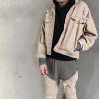 Wholesale Mens Black Denim Jean Jacket - mens hiphop fashion japanese streetwear mens coat brand clothing kanye west oversized Beige Black ripped jean denim jacket