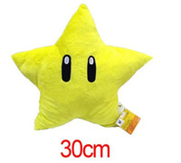 Wholesale Super Star Plush - Hot Super Mario plush dolls Plush toys Soft kawaii Stuffed Plush Animals 30cm Yellow Stars Cushion For Kids Best Gift