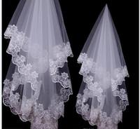 güzel beyaz bayan toptan satış-Ücretsiz Kargo 2017 Güzel Sıcak Satış Beyaz Fildişi Renk Gelin Veils Dantel Kenar Lady Veils Düğün Parti için