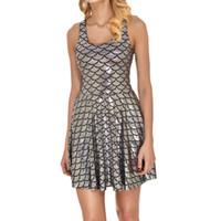 balık baskı elbise toptan satış-2018 NEW 1010 Yaz Seksi Kız Patenci Yelek Elbise Moda Parlak ejderha Balık ölçek gümüş Baskılar Kadınlar Plajı Pileli Giydirme Plus Size denizkızı