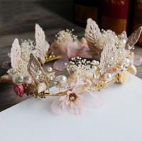 Wholesale silk bohemia - Lady Pearl Bride Crown Headband Immortal flower Shell Head Wreath Women Beach Headband Hair Garlands Bohemia Wedding Dress HairBands BD050