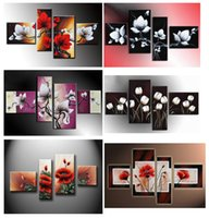 Wholesale Red Floral Wall Art - hand-painted wall art White flowers red the wind landscape oil-paintings on canvas 4pcs  set, HH4002