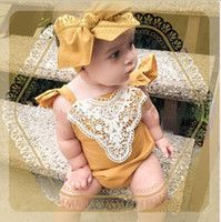Wholesale Lace Ruffle Rompers For Girls - Baby Rompers 2016 Summer Cute Lace Fashion Embroidery Flowers Ruffle Cotton Romper for Infant Toddler Clothing ER-081