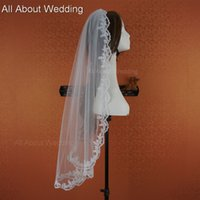 Wholesale Hair Styles Photos - Fingertip 88cm Lace Bridal Veil One Layer Wedding Hair Accessory with Comb 2016 New Style Real Photo Epacket Free Shipping