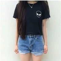 All'ingrosso-Alien UFO stampato Pocket Tumblr Tee Shirt kawaii 2016 T-shirt divertenti modo delle donne supera Hipster Top Cheap Clothes Cina
