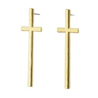 Black Gold e Silver Color Alloy Fashion Designer Cross Shaped Punk Stud Earrings Elegant Jewelry Dangle Earrings