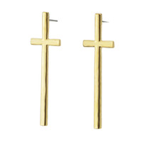 Black Gold et Silver Color Alloy Fashion Designer Croix en forme de Punk Stud Earrings Elegant Jewelry Dangle Earrings