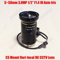 "Wholesale Ir Camera Auto - Wholesale- 3MP 1 2"" 5-50mm F1.4 IR CS Mount DC Auto Iris Varifocal CCTV Lens for 960P 1.3MP 1080P 2 Megapixel Analog IP Body Box Camera"