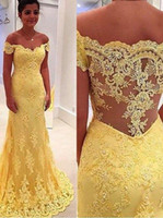 Wholesale Cheap Light Up Shirts - 2016 Long Mermaid Prom Dress Gorgeous Off-the-shoulder Illusion Back Lace Appliques Sweep Train Yellow Plus Size Prom Dress Cheap Dress