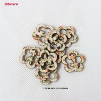 Wholesale Natural Flower Hair Clips - (120pcs lot) 28mm Flower textile topper natural wood back hair clip crafts -GJ1023D