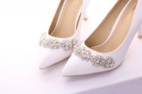 Wholesale Checkered Heels - Elegant White Bridal Shoes Brilliant Wedding Shoes with Beads Rhinestone 7CM 12CM High Heels Women's Shoes for Special Occasion