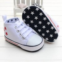 Wholesale Infant Shoe Laces - 2016 New Fashion Cute Stars Baby Shoes 3 Colors Lace up Shallow Newborn Infant Kid First Walkers